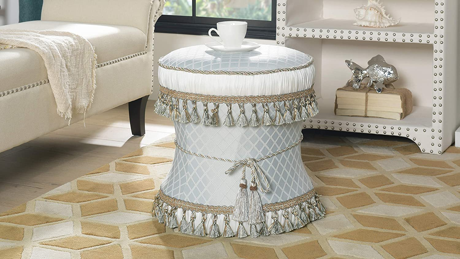 Tremendous Jennifer Taylor Home Vanity Stool Seamist Blue Bow Tassels Cord W Fringe Trim Tassels Caraccident5 Cool Chair Designs And Ideas Caraccident5Info