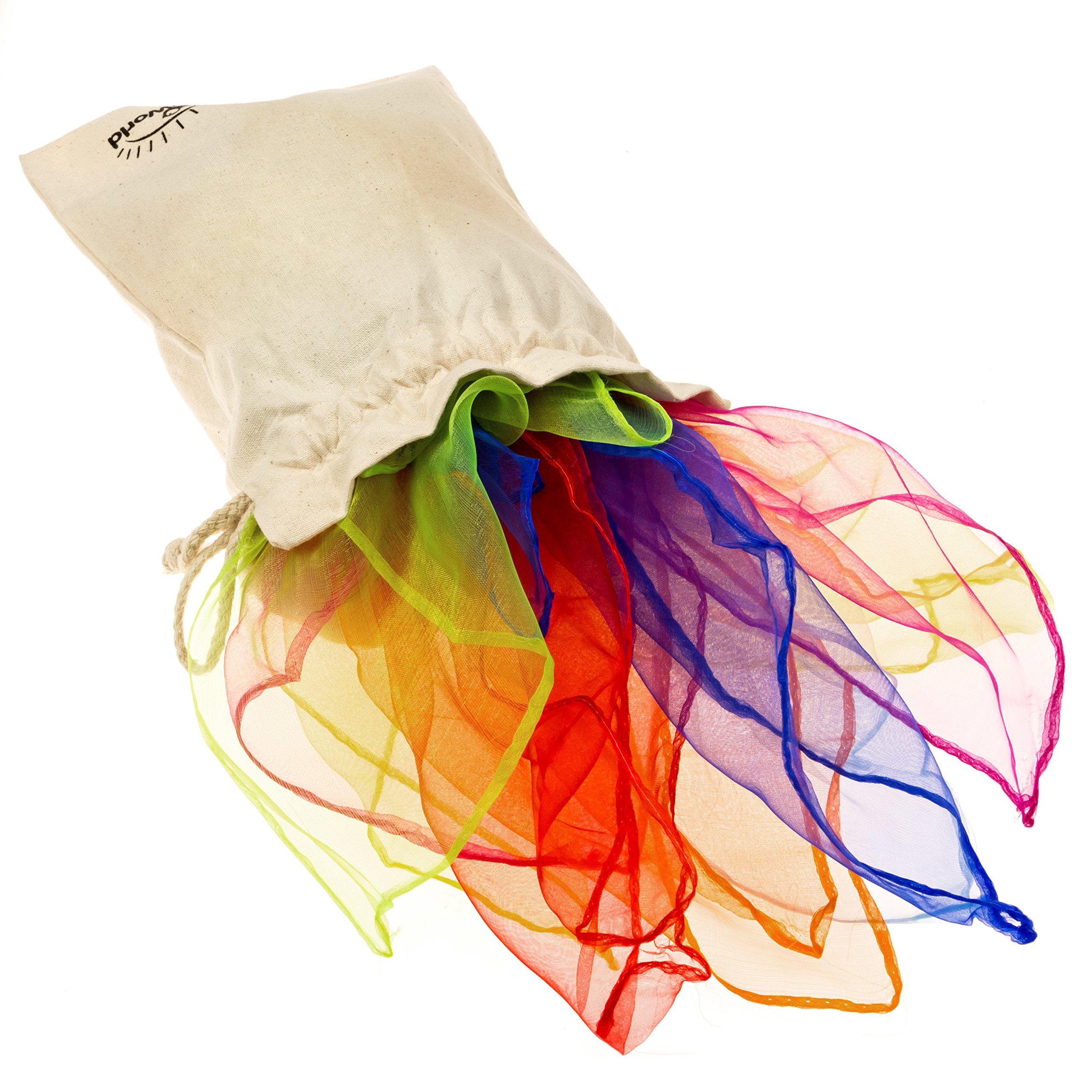EarlyWorld Play Silks & Bag: 7 Color Set of Large Cloths For Creative Childhood Play