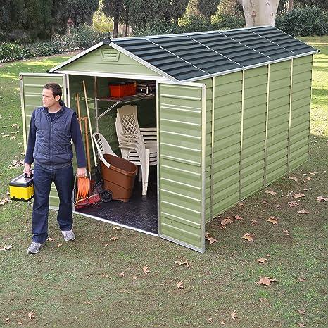 Cobertizo de almacenamiento Waltons, de plástico, 180 x 360 cm: Amazon.es: Jardín