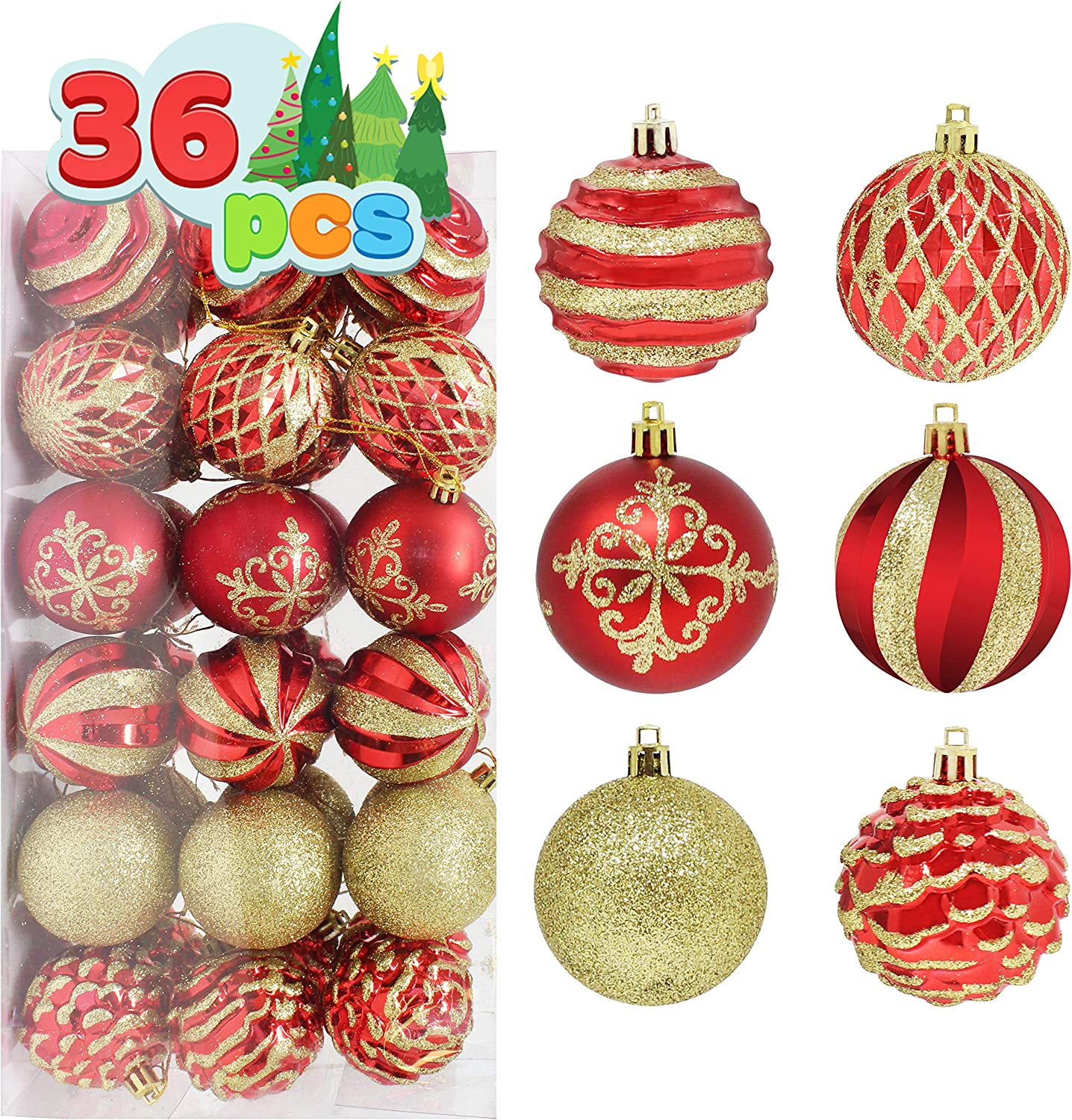 "Joiedomi 36 Pcs Christmas Ball Ornaments, Deluxe Shatterproof Christmas Ornaments for Holidays, Party Decoration, Tree Ornaments, and Special Events (Red&Gold, 2.36"")"