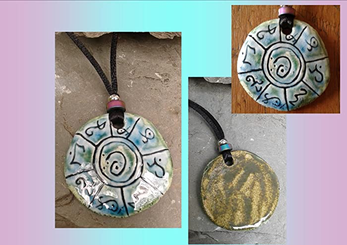 Amazon Lemurian Necklace Fine Porcelain Atlantean Pendant