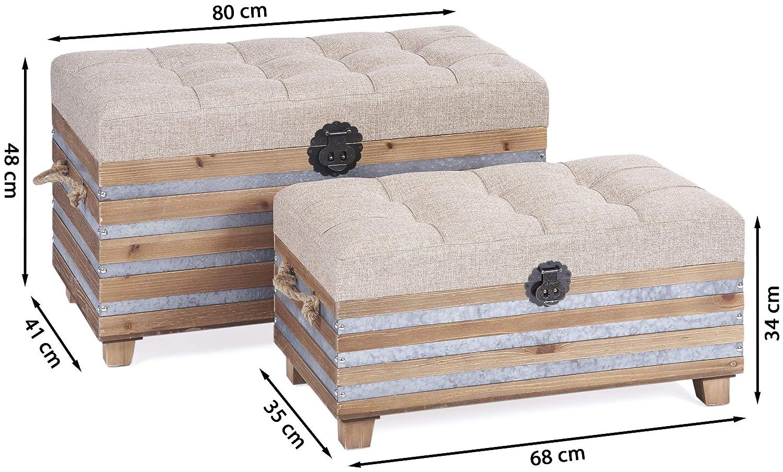 ts-ideen Set de 2 coffres commodes style industriel industrial design m/élange moderne des mat/ériaux marron gris