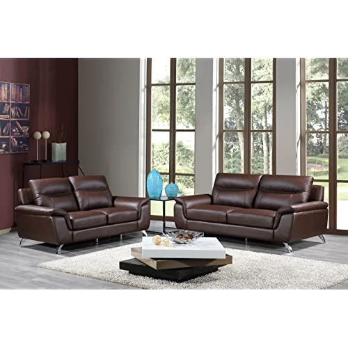 Brown Leather Sofa Sets Throughout Cortesi Home Chicago Genuine Leather Sofa Loveseat Set Brown Set Amazoncom