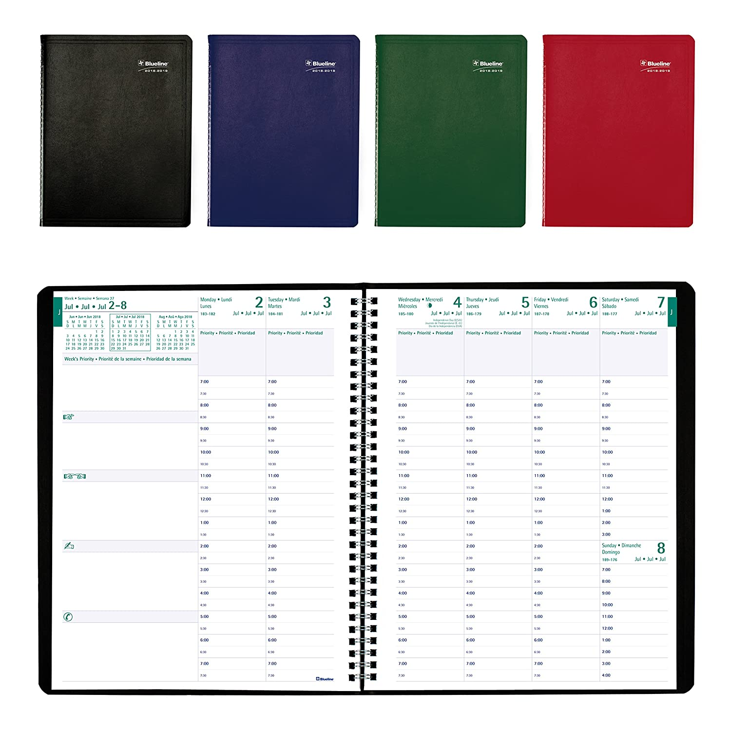 Blueline 2018-2019 Weekly Academic Planner, 11x8-1/2, Week to View Diary, July 2018 to July 2019, Bilingual, Black (CA109BT.ASX-2019) Blueline Canada