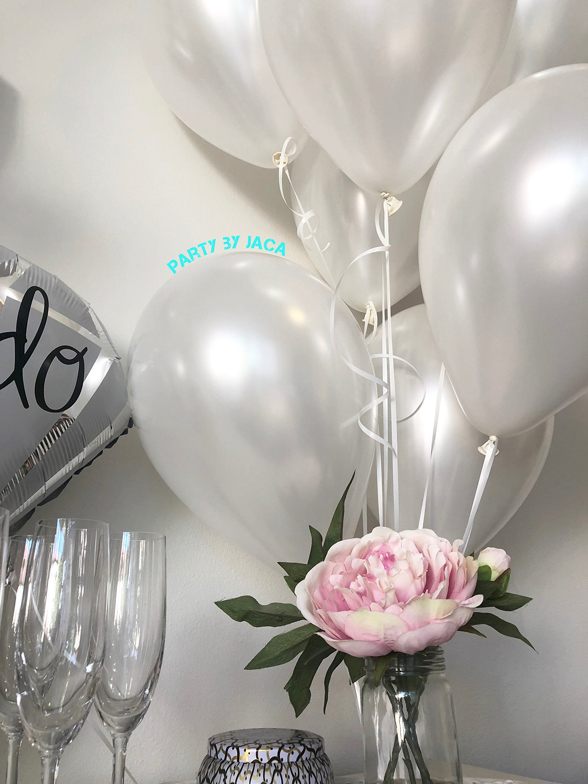 Silver & White Classy Hens Bachelorette KIT - 15 Piece Set: 8 Latex Balloons - 1 3D FOIL Banner Bride - 1 Satin Trimmed Veil - 1 Shiny Ring Balloon by JACA (Image #2)