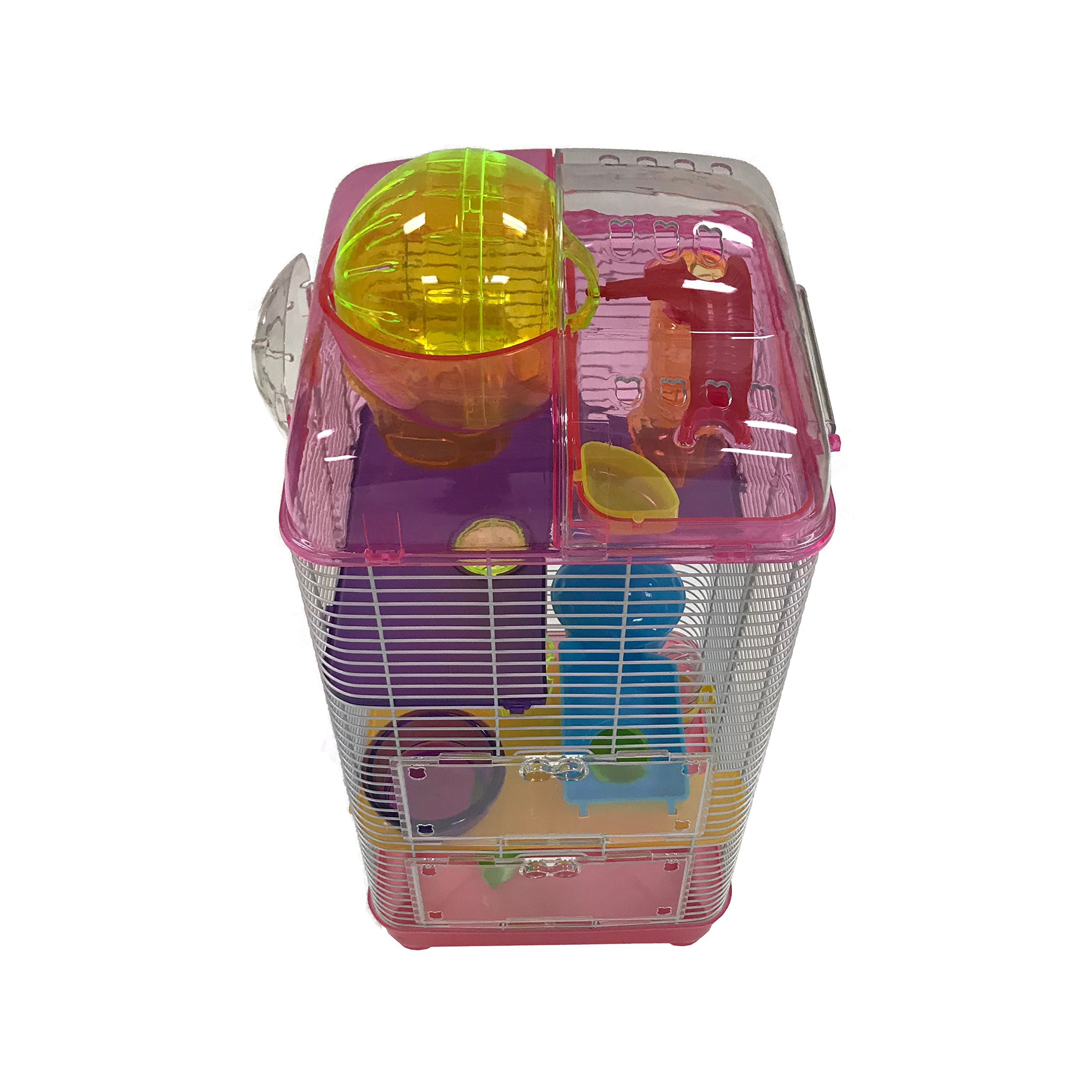 YML 3-Level Clear Plastic Dwarf Hamster Mice Cage with Ball on Top, Pink by YML (Image #3)