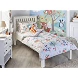 Woodland Kids Animals Single Duvet Set   1 X Pillowcase Included   Cream  And Green