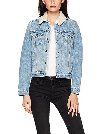 Veste en jean manche grise femme