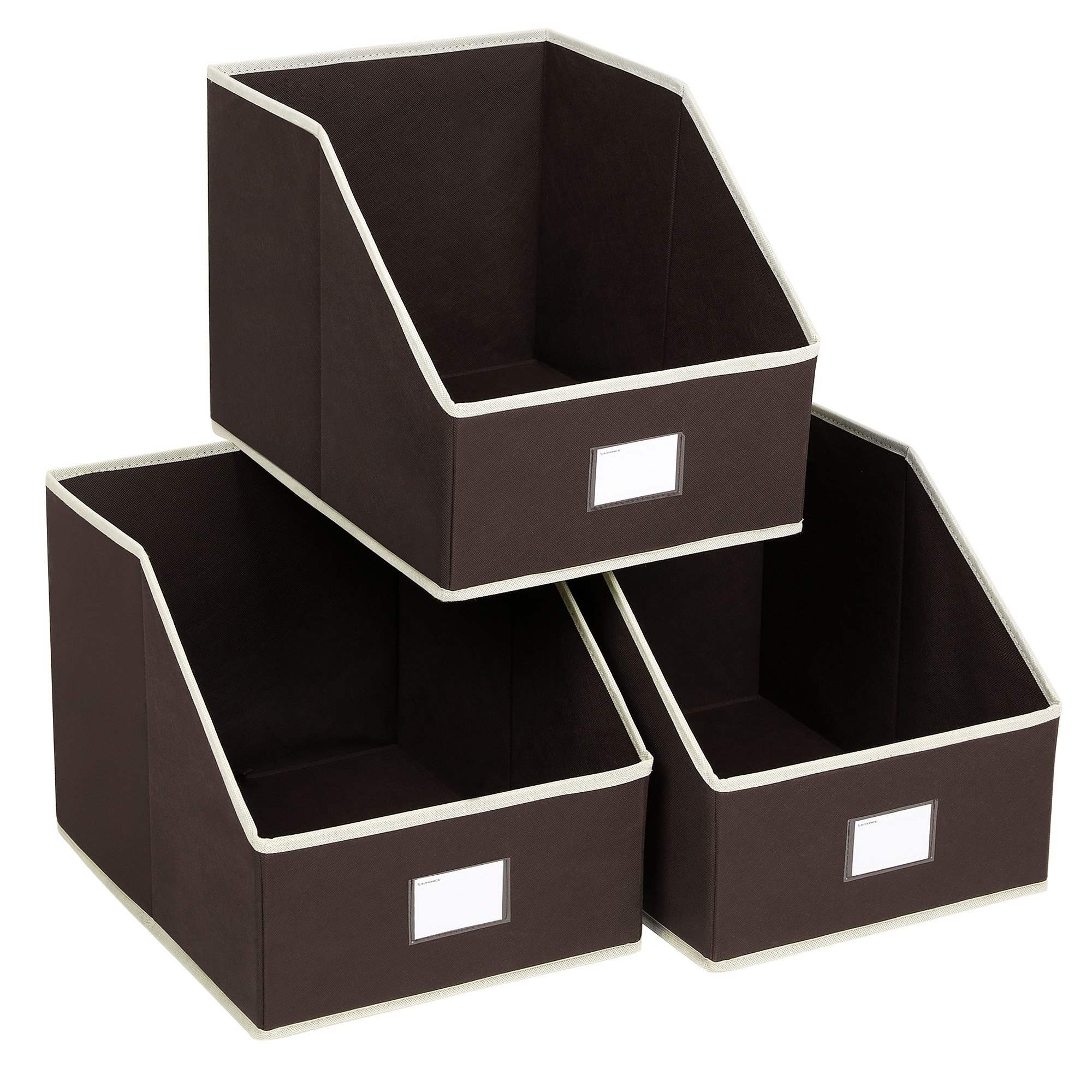SONGMICS 3 Pack Open Storage Bins Foldable Trapezoid Storage Cubes Non-woven Cloth Organizers with Label Holders for T-shirts sweaters etc, Brown UROB03K by SONGMICS
