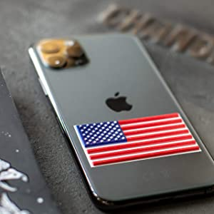 American Flag Sticker Car Decals – 3D Premium Quality Vinyl USA Stickers for Phone Helmet Toolbox Laptop Tablet – 10 in Pack Small Classic Flag Decal 2,375 х 1,25 Inch – Raised Stars Stripes