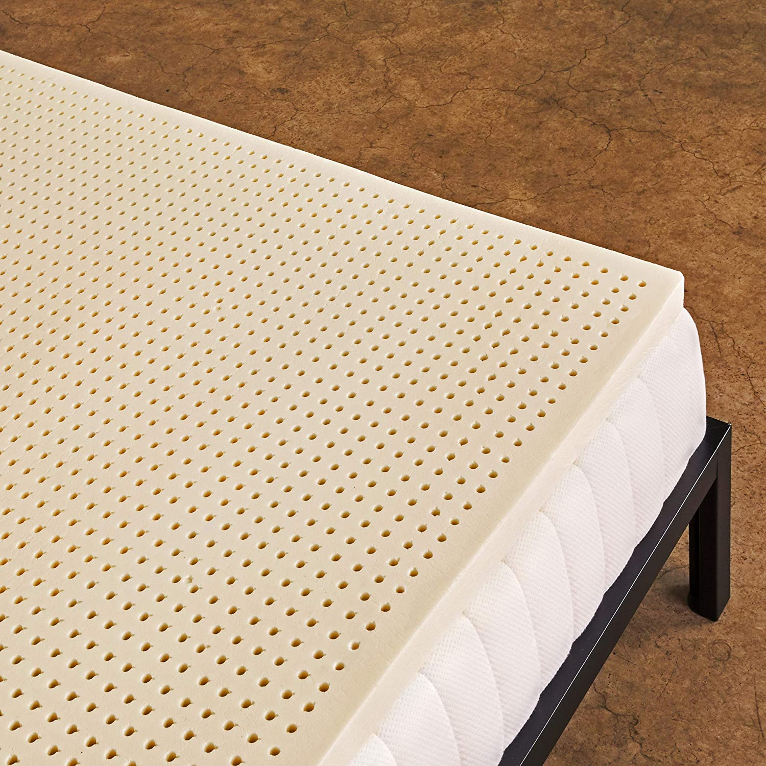 Pure Green 100% Natural Latex Mattress Topper - Medium Firmness - 2 Inch - Queen Size