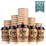 Disposable Coffee Cups Hot Insulated Paper Cups - With Lid and Stir Straw 12oz(50 Count) Double layer Insulated Eco Friendly,Sturdy Construction,Disposable Craft Large Reusable