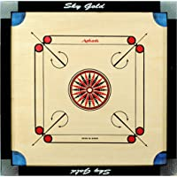 KORNERS Wooden Carrom Board with Cut Pockets, Coins, Striker and Powder, 26-inch
