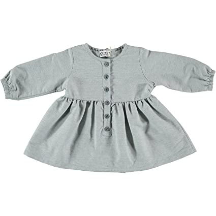 Vestido algodón bebé niña color verde agua, abotonado. Precio outlet