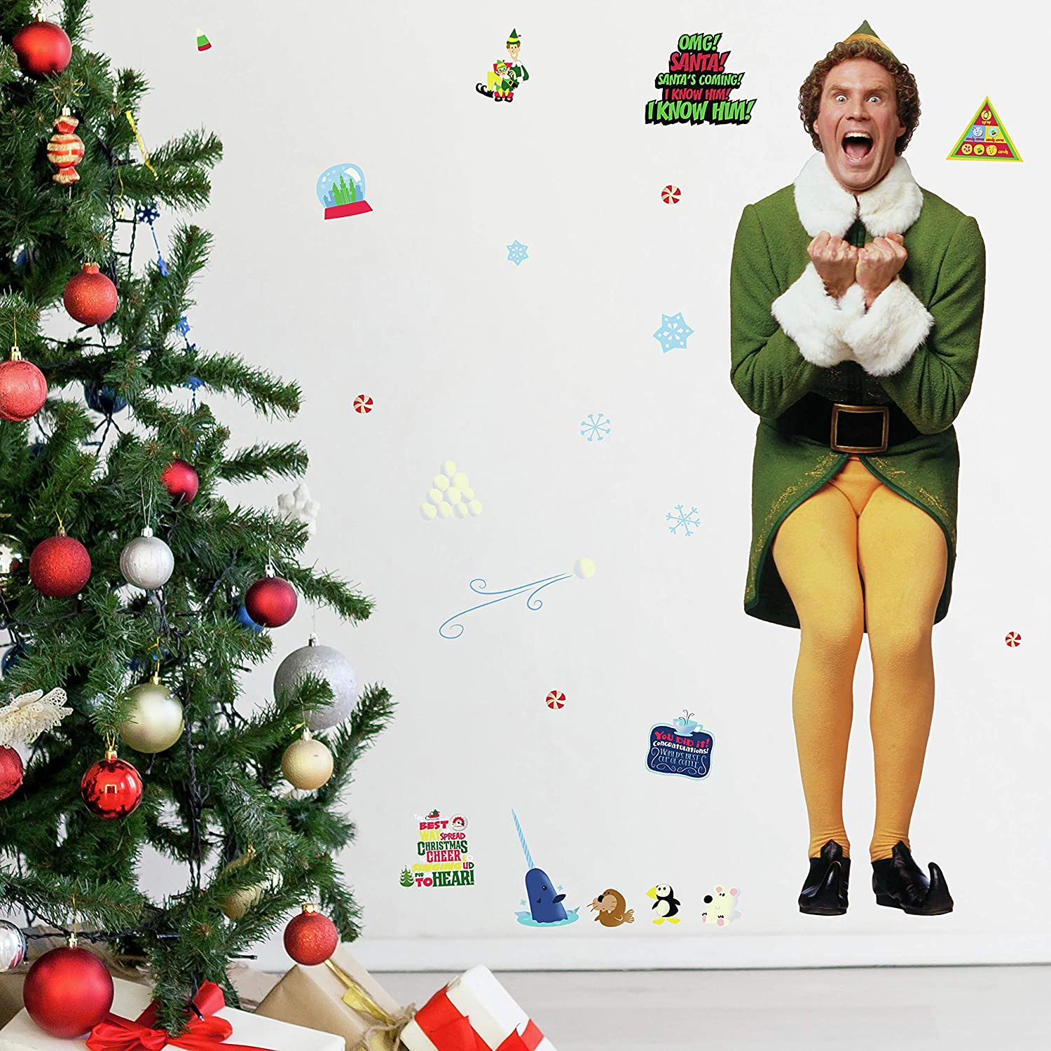 RoomMates Buddy The Elf Giant Wall Decals | Holiday Wall Stickers