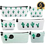 SUBANG 6 Packs Pencil Case New Style Cactus Pastoral Bandage Canvas Pencil Case Box Makeup Bag