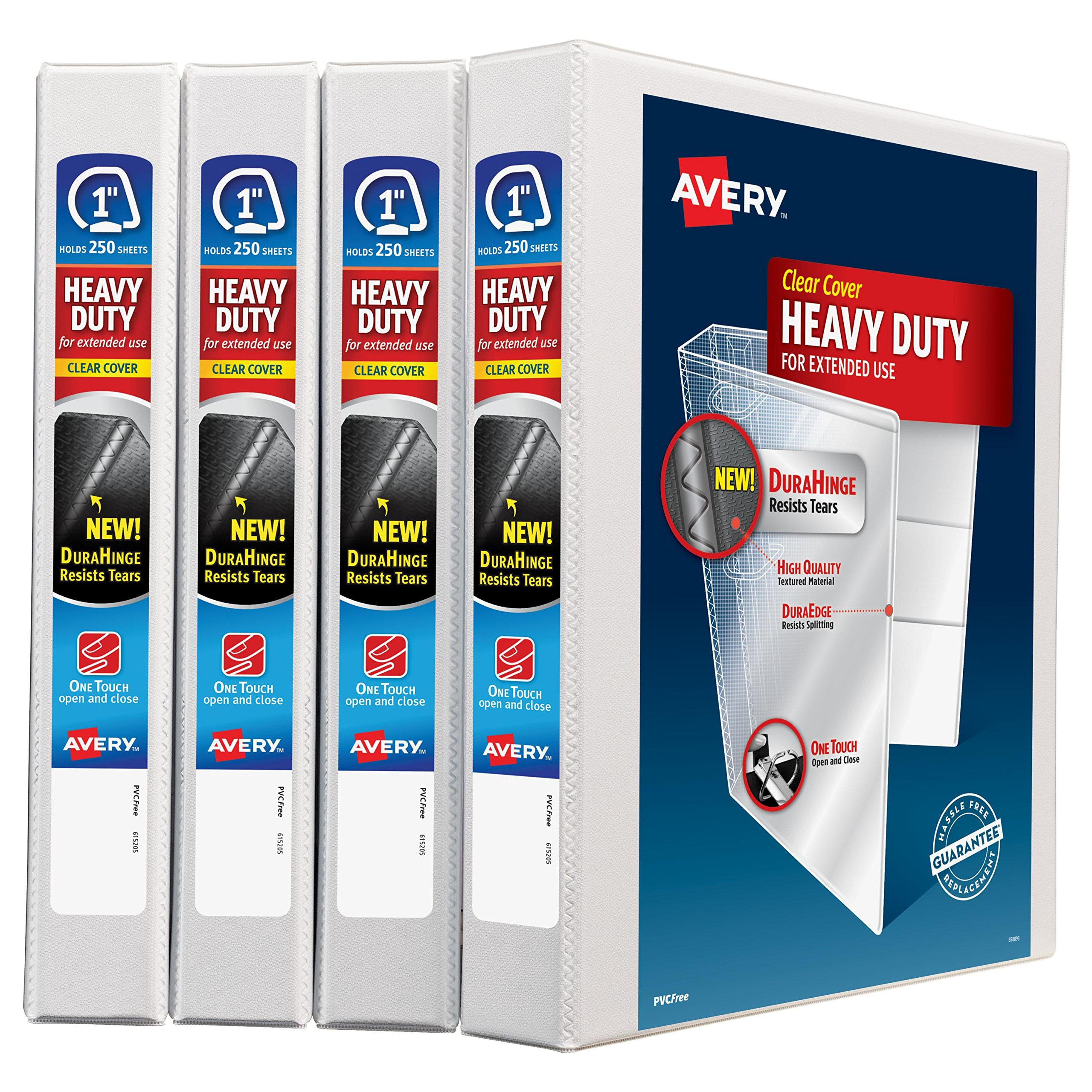 Avery Heavy-Duty View Binder, 1'' One-Touch Rings, 220-Sheet Capacity, DuraHinge, White, Pack of 4 (79780)