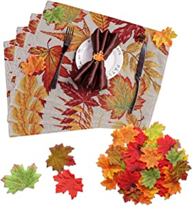 Searching Roads Fall Placemats, Woven Placemats Set of 4 for Dining Table,Harvest Farmhouse Rustic Style Maple Leaf placemats for Autumn and Thanksgiving Fall Decor