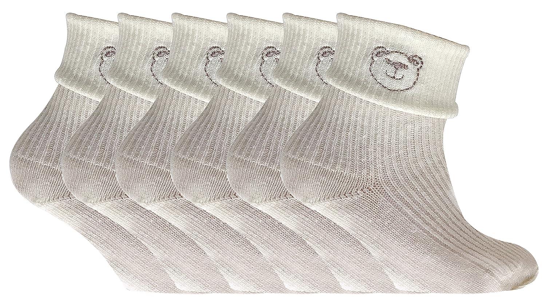 6 Pack Baby Boys Girls Newborn Soft Cotton Rich Turn Over Top Teddy Bear Cream Ankle Socks