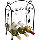 Grape Arbor Style Tabletop 3 Wine Bottles / 5 Wine Glasses Metal Wine Organizer Storage Rack w/ Top Handle - Black