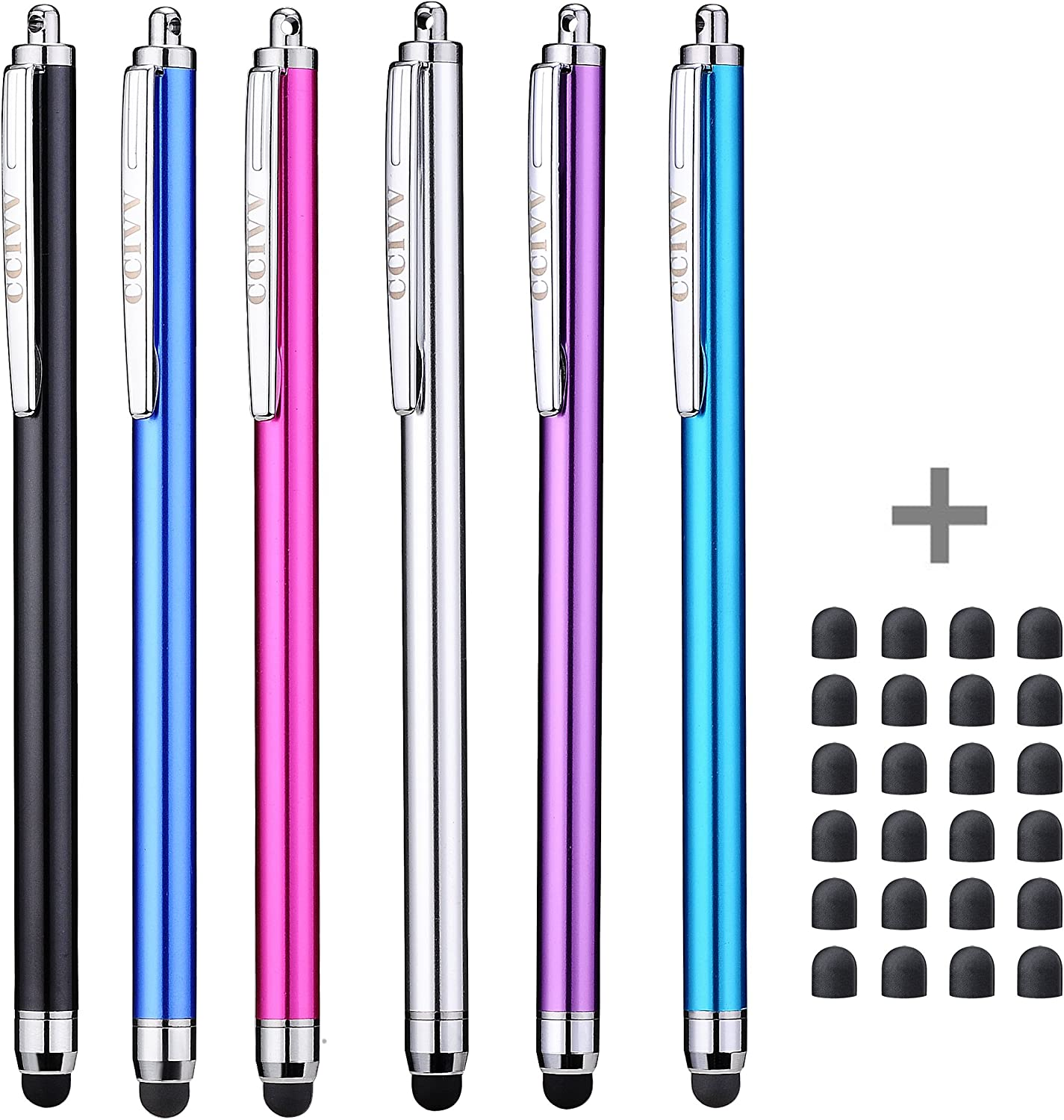 Slim Stylus, CCIVV Stylus Pens for Touch Screens Including Apple iPad Air 2, iPad Pro, iPad Mini 4, iPhone 8/7/6s, iPhone 8/7/6s Plus, Kindle Fire HD, Samsung Galaxy Tab and Nexus 10(Pack of 6)