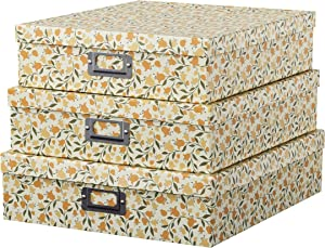 Soul & Lane Decorative Storage Cardboard Boxes with Lids | Floral Dance - Set of 3 | Paperboard Nesting Boxes for Organizing