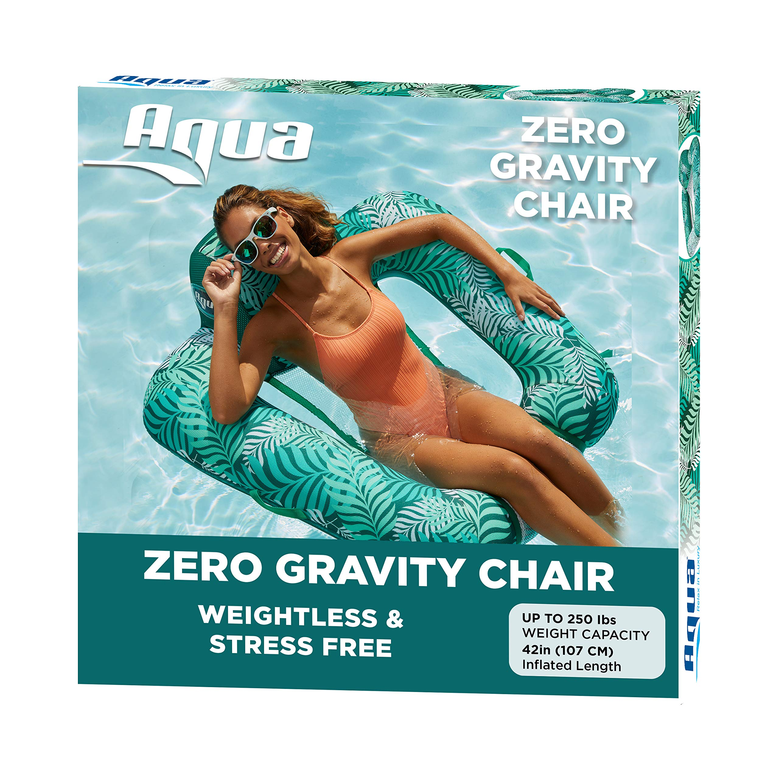 Aqua Zero Gravity Pool Chair Lounge Inflatable Pool Chair Adult Pool Float Heavy Duty Teal Fern Blue Teal - Zero G Pool Chair (AZL17290TL)