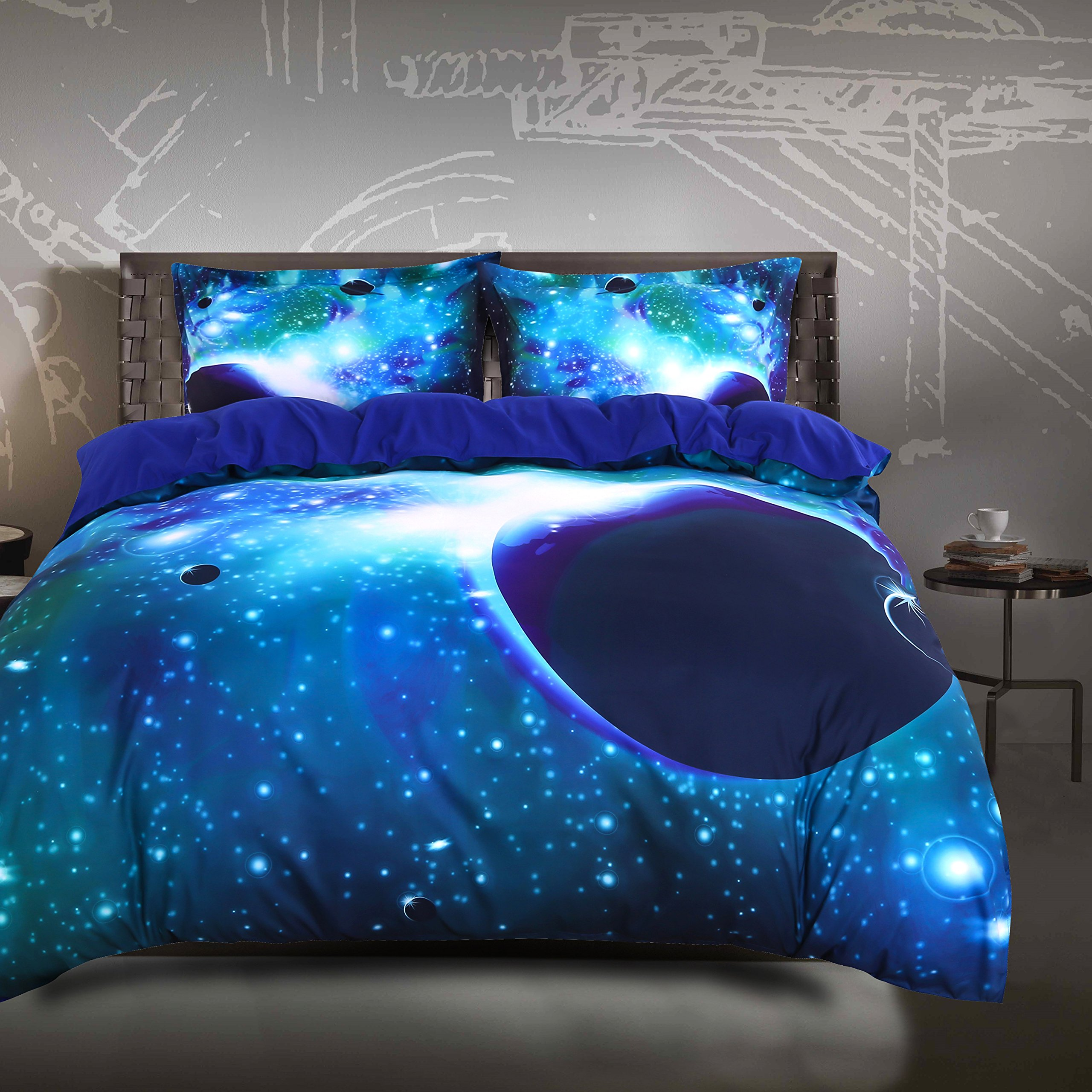 Wowelife Galaxy Sky Bedding Set 3D Printing Cosmos Scene Cotton Quilt Sets 4 Pieces of Flat sheet Dovet Cover and 2 Pillows(Queen, Galaxy-Green)