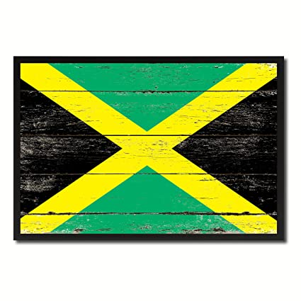 Amazon Com Jamaica National Country Flag Shabby Chic Wall Art Home