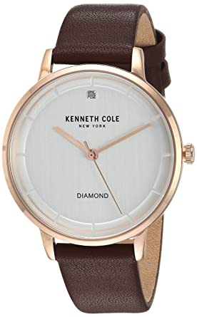 Kenneth Cole New York Womens Quartz Stainless Steel and Leather Casual Watch, Color:Brown