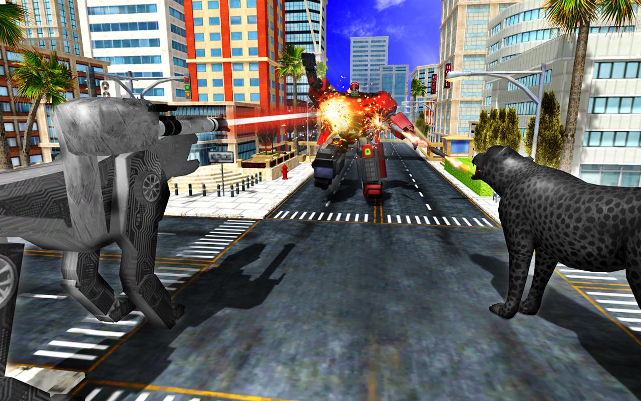 Panther Robot Transformation Gangster Crime City Battle ...