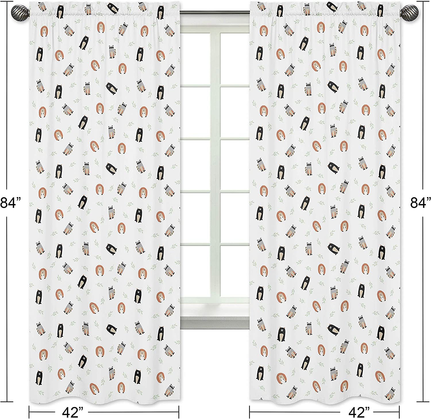 Set of 2 Sweet Jojo Designs Bear Raccoon Hedgehog Forest Animal Window Treatment Panels Curtains for Woodland Pals Collection Green Black and Grey Neutral Beige