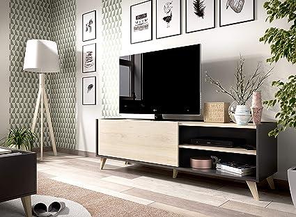 Muebles La Factoría - Módulo salón Comedor para TV, Color Grafito/Natural, Medidas: Alto 47 x Ancho 155x 43 cm de Fondo: Amazon.es: Electrónica