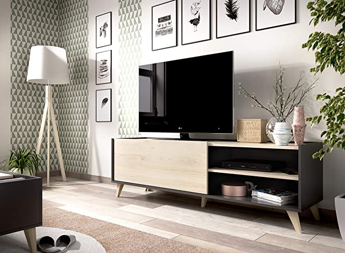 Muebles La Factoría - Módulo salón Comedor para TV, Color Grafito ...