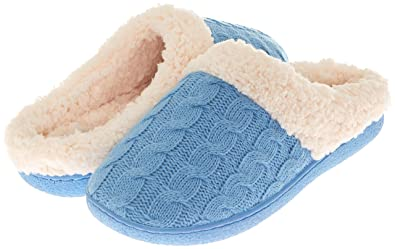 87080b7792a Floopi Womens Indoor Outdoor Knitted Sherpa Lined Clog Slipper W Memory Foam  (XL