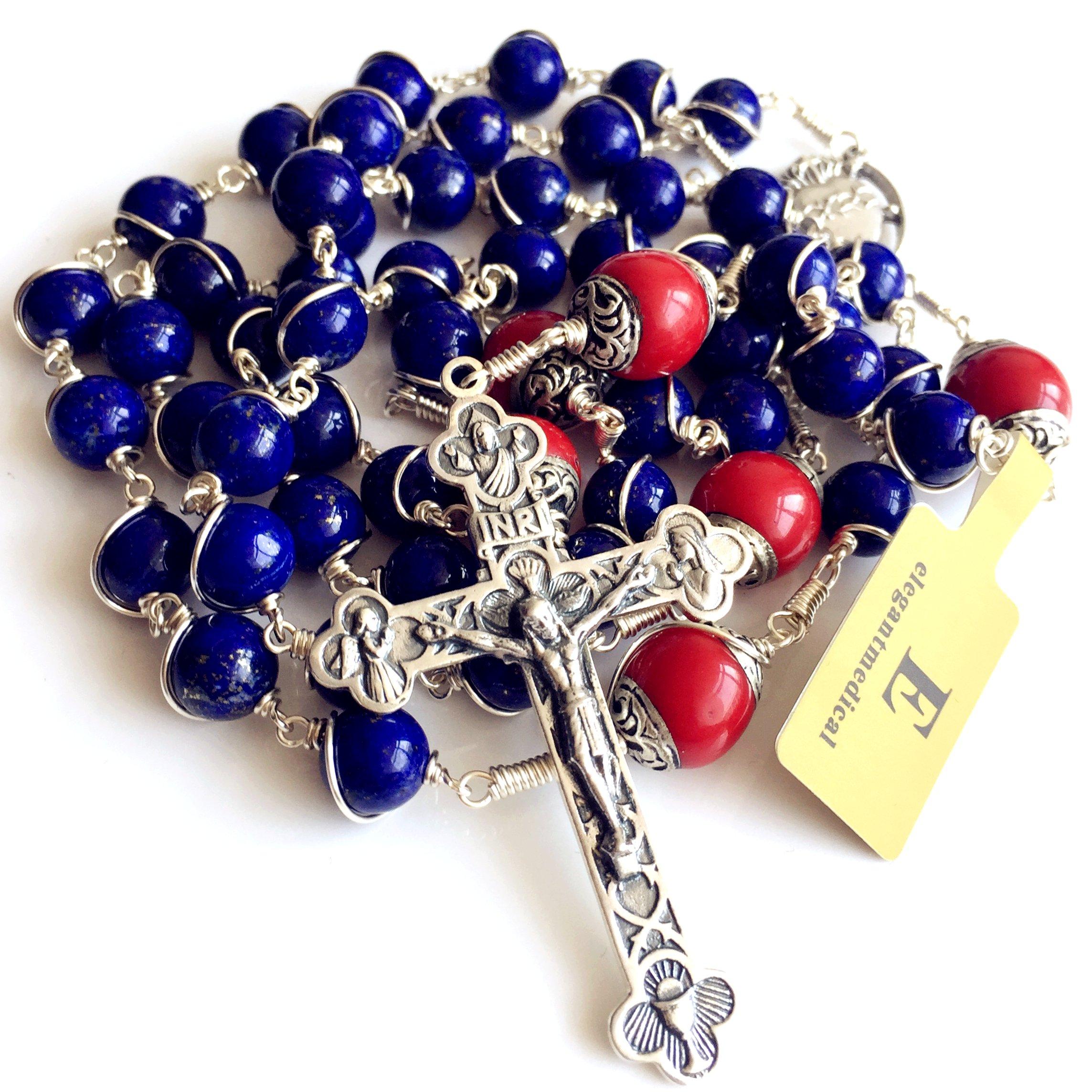 Handmade Sterling 925 Silver Lapis Lazuli Beads Rosary Cross Crucifix Catholic Necklace Gifts by elegantmedical (Image #9)