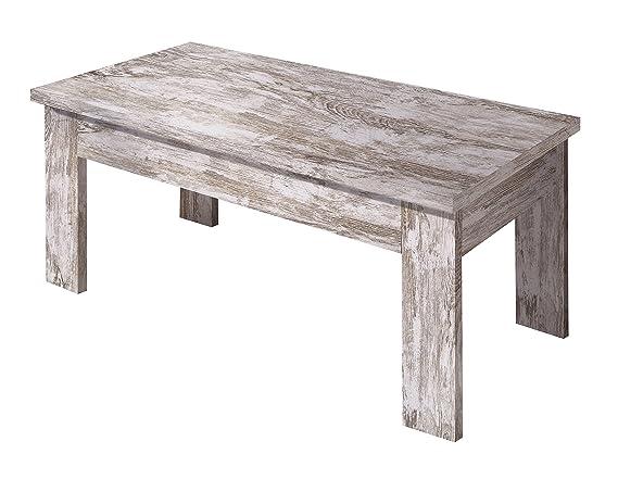 OVERHOME365 3574 B - Mesa centro elevable, madera, color blanco ...