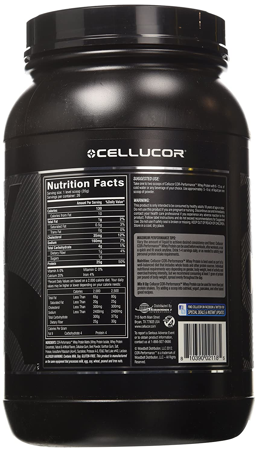 Cellucor Cor-Performance Whey Fast Digesting 100% Whey Protein 26 Servings, Red Velvet, 2 Pound: Amazon.es: Salud y cuidado personal