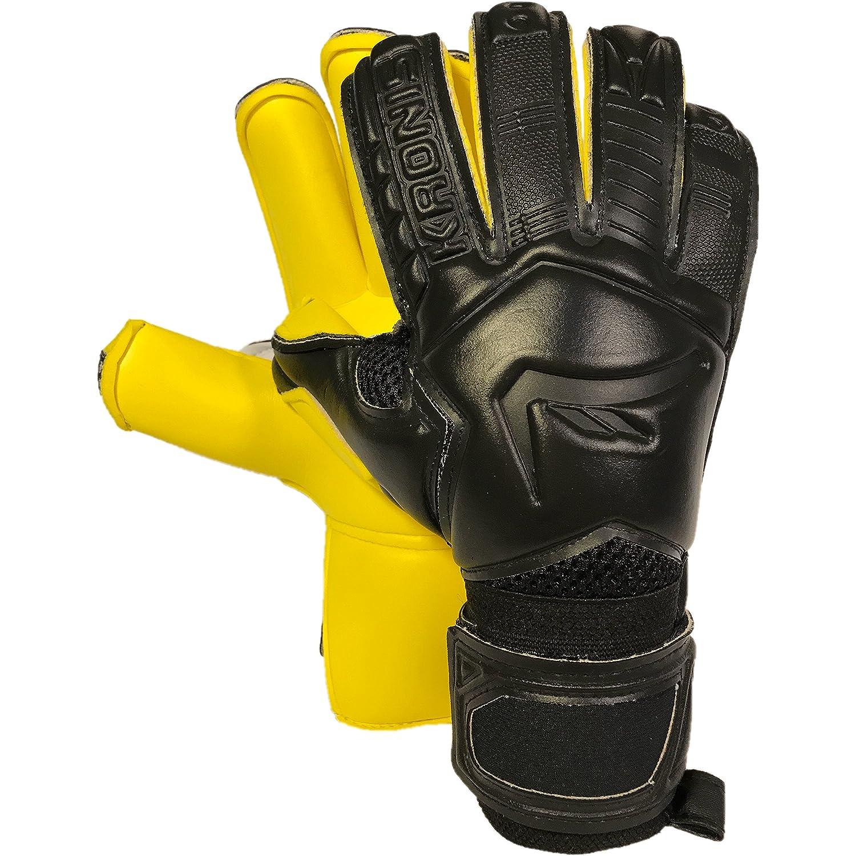 Kronis Torwart Handschuh Ignis schwarz gelb  Größe 5-10  Professional Level Torwart Gloves  Erwachsene & Youth  Rolled  für Top Performance, Haltbarkeit, Sicherheit, und Comfort