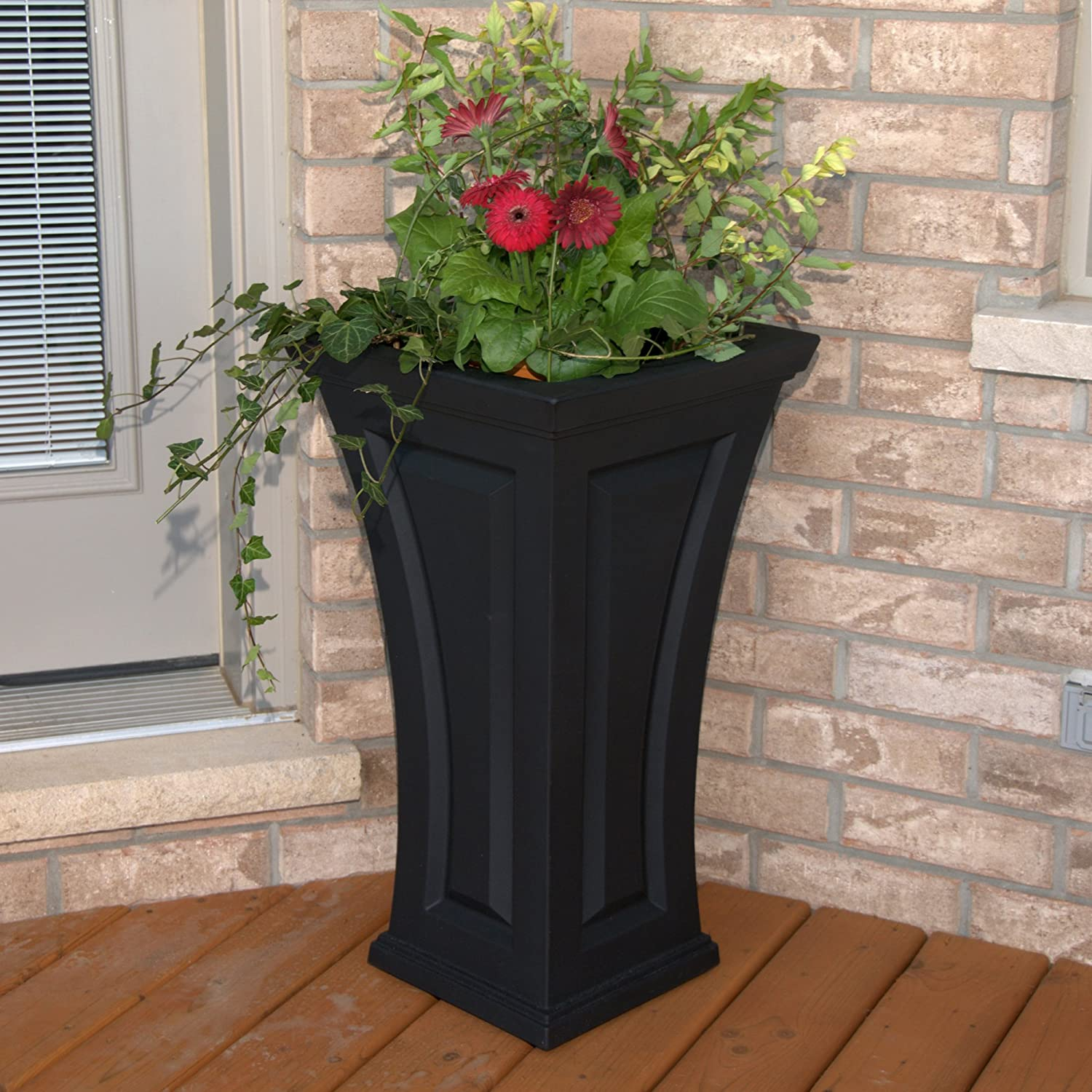 Amazoncom Mayne Inc Cambridge Tall Planter Black Outdoor