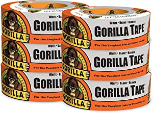 """Gorilla White Duct Tape, 1.88"""" x 30 yd, White, (Pack of 6)"""