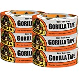 """Gorilla Tape, White Duct Tape, 1.88"""" x 30 yd, White, (Pack of 6)"""