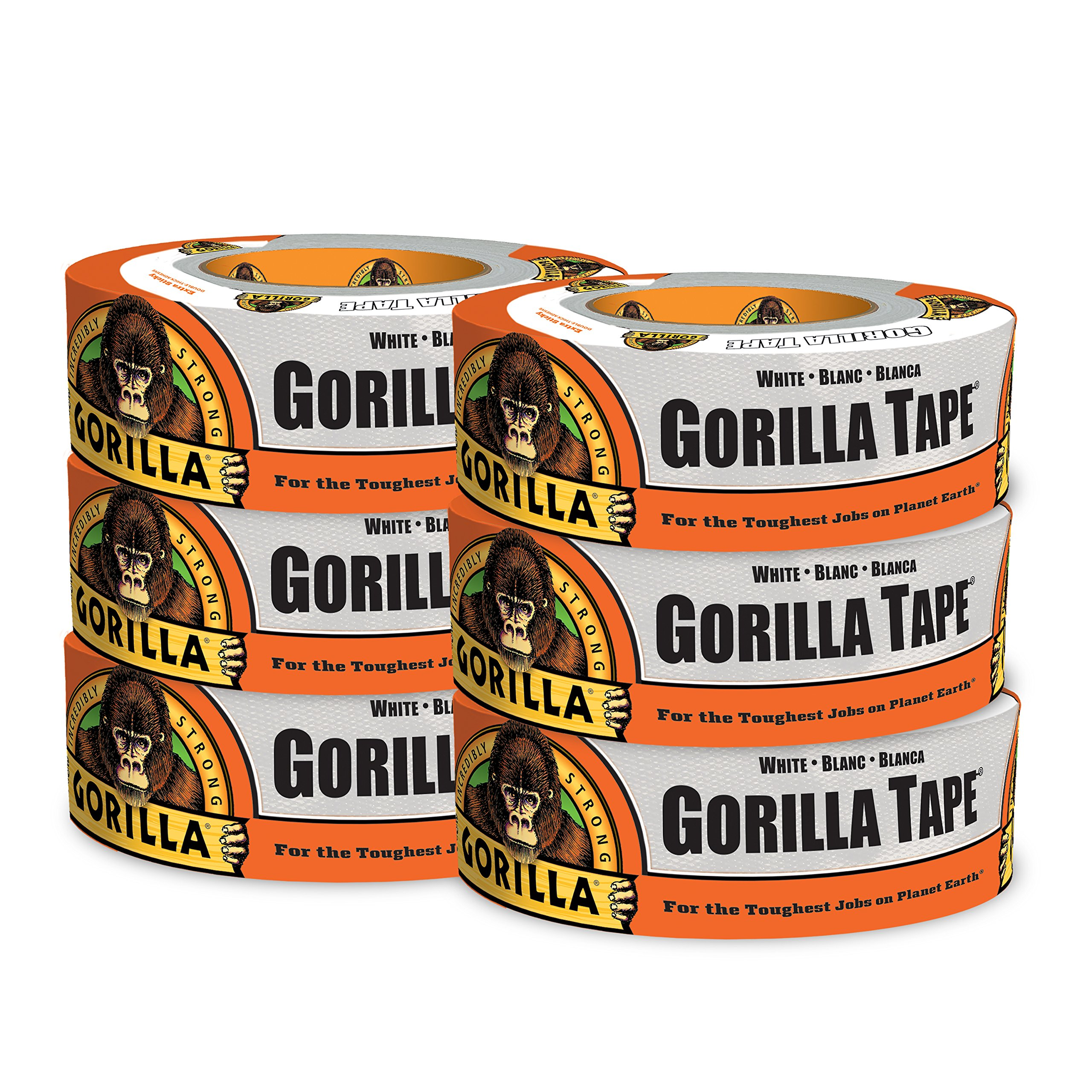 Gorilla Tape, White Duct Tape, 1.88'' x 30 yd, White, (Pack of 6)