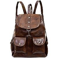 SPLICE PU Leather Backpack School Bag Student Backpack Women Travel bag 6 L Backpack (M, Brown)