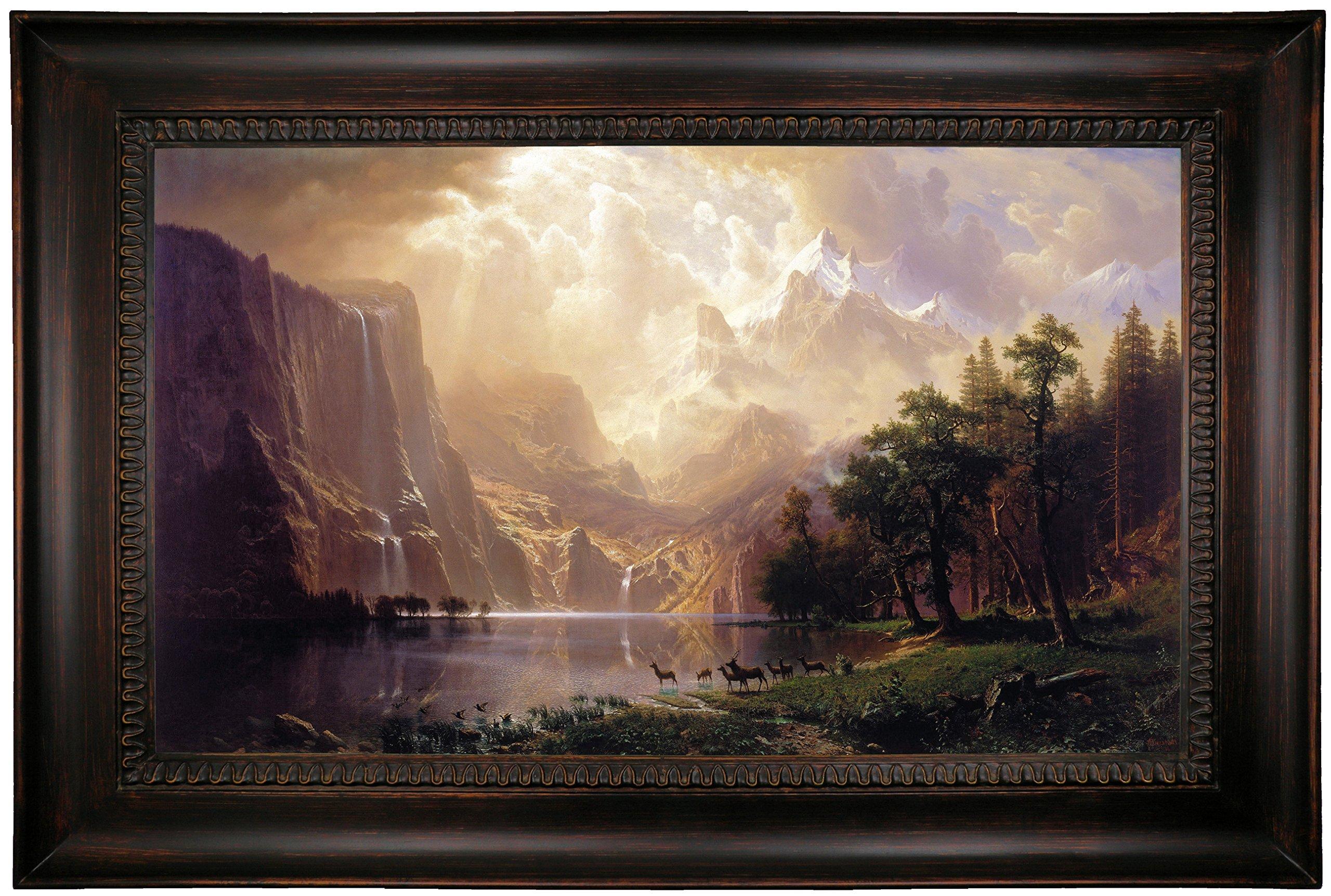 Historic Art Gallery Among the Sierra Nevada, California 1868 by Albert Bierstadt Framed Canvas Print, 19'' x 32'', Dark Gold Gallery by Historic Art Gallery