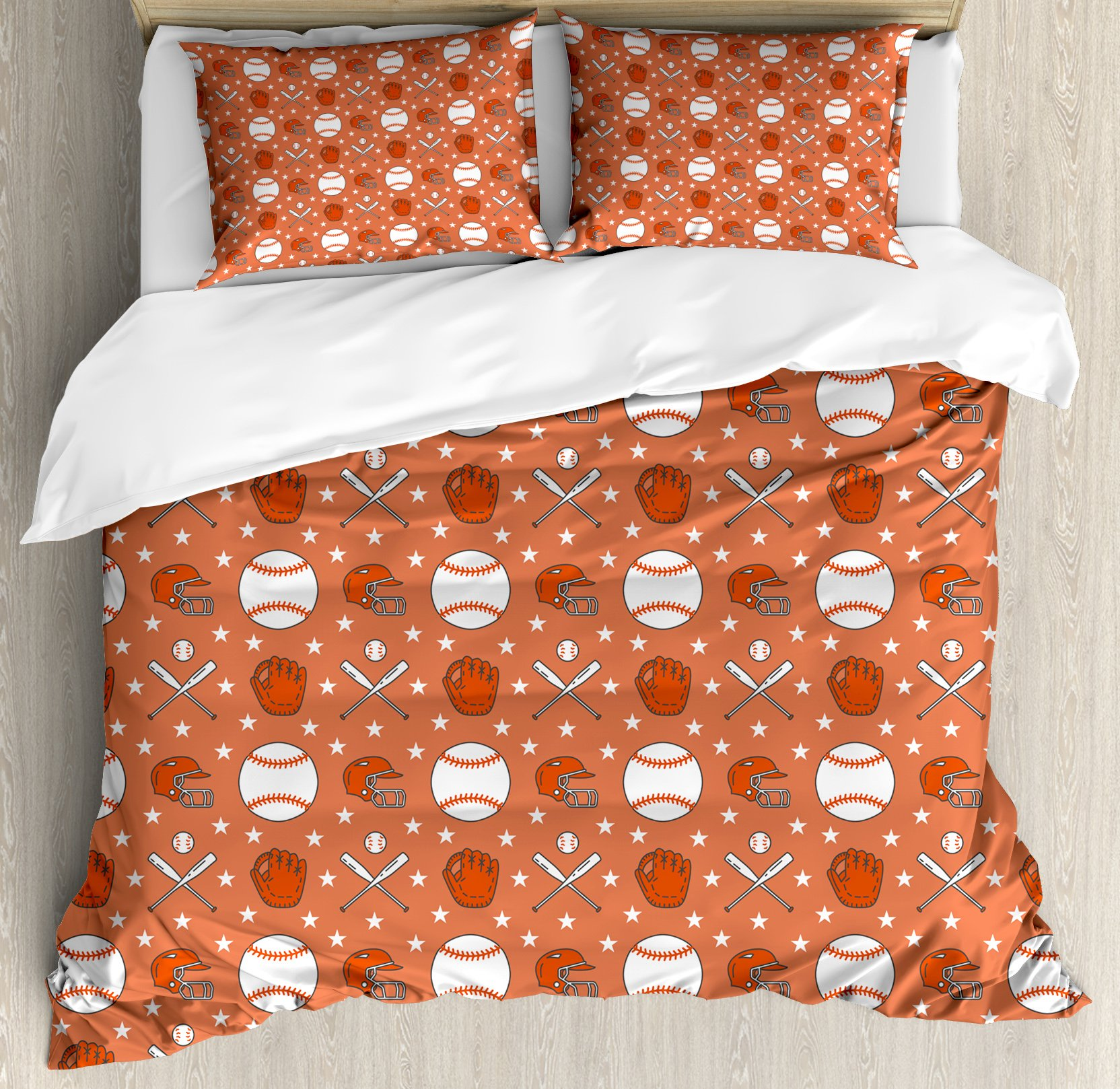 Baseball Duvet Cover Set Queen Size by Lunarable, Softball Sport Game with Icons of Balls Gloves Bats Helmets Professional Player, Decorative 3 Piece Bedding Set with 2 Pillow Shams, Orange White