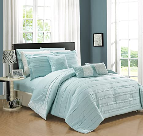 Chic Home Lea 10 Piece Reversible Comforter Bag Ruffled Pinch Pleat Motif Pattern Print Complete Bedding Set Sheets Decorative Pillows Shams Included Blue Queen Aqua Home Kitchen