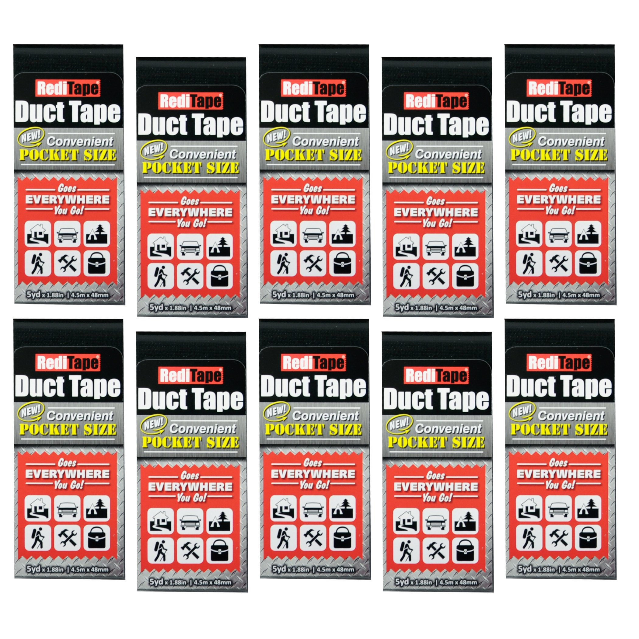 REDITAPE Travel Size Flat Fold Duct Tape | Multi-Pack Gaffer Tape: Black | 10 Pack (10940)