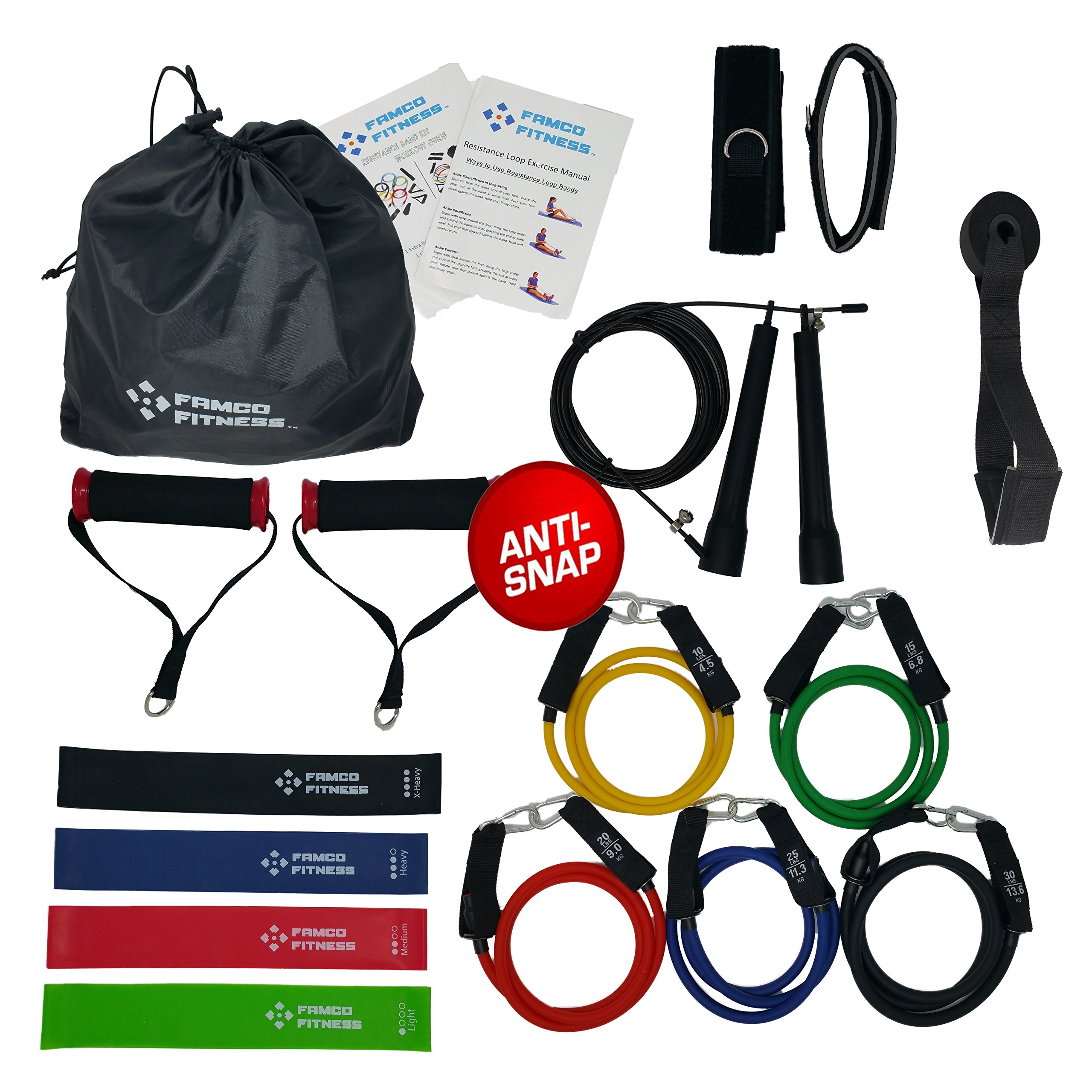 FAMCO FITNESS 17 Pc Heavy Duty Resistance Bands Set Home Gym With Speed Jump Rope For Men And Women | 5 Tube Exercise Bands | 4 Flat Fitness Bands | Carry Bag | Crossfit WOD Rehab | Exercise Charts