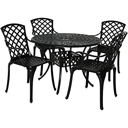 Sunnydaze Outdoor Patio Furniture Dining Set, 4 Metal Chairs And Round Table,  Durable Cast